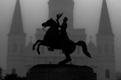 spooky image of Andrew Jackson statue